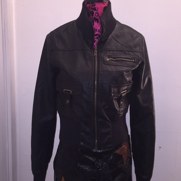 2d3d556b9 Med AMBIANCE APPAREL Faux Leather Bomber JACKET
